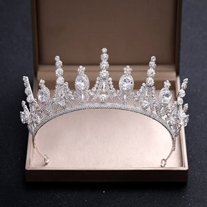 Luxury Vintage Big Wedding Crown Люкс Тиара Барокко Queen King Crown Silver Metal крист Европейский заставки