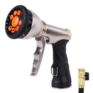 Water Pipe Nozzle Garden Spray Gun Irrigator Heavy-duty High-pressure Metal Spray Gun 9 Adjustable Modes For Lawn Garden