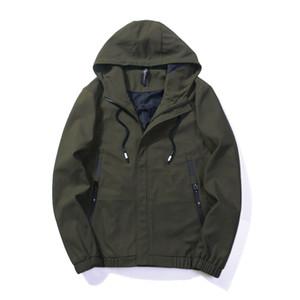 BROWON Marque Hommes Street Jacket 2019 Hommes Vestes et Manteaux Streetwear Couleur Unie Armée Veste Militaire Mode Avec Capuche