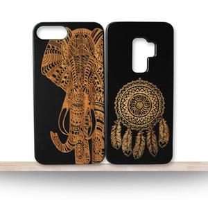 Roman Öğeleri Özel Siyah Ahşap Tasarım Telefon Kılıfı Için Samsung Galaxy S10 S10e S10 ARTı Çevre Dostu Ahşap Bambu Arka Kapak iphone X 7 8