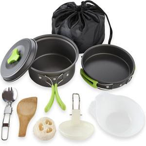 Kit da cucina per picnic Kit da campeggio in alluminio duro Kit per fornelli da campo Ciotole combinate portatili Forchetta pieghevole Cucchiaio 32ye O1