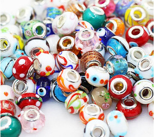 Silver Color Murano Glass Beads Fit European Charm Bracelet Spacer And Jewelry Making By 50pcs Mix