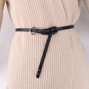 Small simple all-match decorative sweater knot thin belt ring skirt dress Ring dress belt dark red