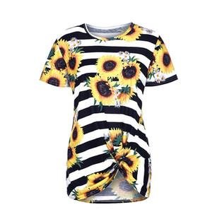 Мода летние женские узел узел подсолнечника полоса футболки Crewneck цветочные туники топы o шеи повседневные свободные с короткими рукавами печатные блузки