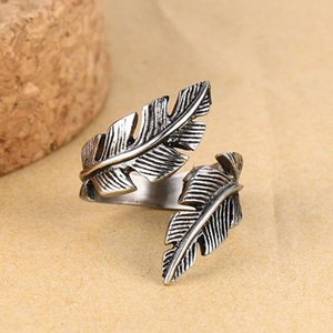 whole saleVintage Style Men Woman Antique Adjustable Silver Alloy Feather Ring Band Jewelry Gift Wedding Party Dance Jewelry Accessories
