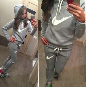 2020 nuove donne set tute attivi Hoodies Felpa + pantalone da corsa tute sport della pista da jogging 2 Pezzi set Survêtement vestiti femme