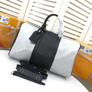 Seyahat Bez Çok fonksiyonlu Erkekler Kadınlar Bagaj Çanta Siyah Beyaz Patchwork Bagaj Büyük Kapasiteli Çanta Omuz Çantaları Açık Duffel Çanta
