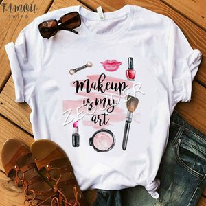 Makeup Is My Art Shirt Lady Floral Vogue Lipsticks Nail Polish Kiss T Shirt Women Cotton O Neck Casual T Shirt Hipster