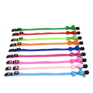 Pet Bow Collar Nylon Fita Multicolor Ajustável Com Sinos Acessórios para Animais de Estimação Coleiras de Gato Fivela de Segurança 4 2kl UU