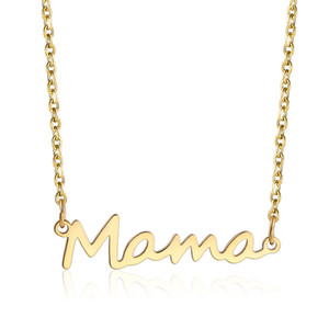 Mama Lettere Collana Acciaio inox Acciaio inossidabile Bambino Lockbone Ciondolo Catena Collana Gioielli Giornata della festa della mamma Regalo Gold Gold Gold Colors