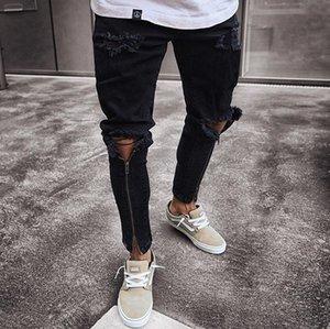 Designer Jeans Hommes Noir Zips Pantelons Pantalon Slim design Cool Distrressed Jeans Automne Printemps Ripped Nouveau