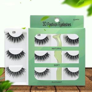 3D Mink cílios naturais pestanas falsas longas cílios extensão falso falsifica Eye Lashes Maquiagem Tool com 3pairs Caixa / RRA2869 set