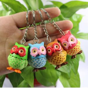 Cadeia Coruja Keychain Bag Car Key Animal Bird bonito Pendant Figura presente Chaveiro Aniversário 4 cores 24pcs Mix / Lote Atacado