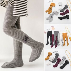 0-24M Girls Kids Tights Pantyhose Solid Cotton Bow Knitted Winter Warm Tights Party School Leg Warmers