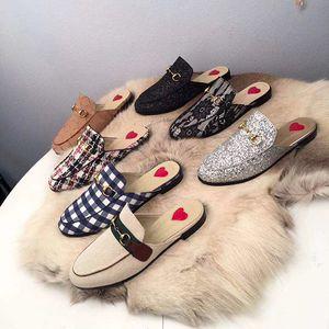 mens camurça mocassins calçados fivela de metal mulas clássico chinelos de couro genuíno Princetown Moda impressão Sandália mulas lâminas pele chinelos