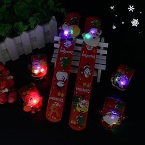 kid pulsera LED de Navidad de juguetes regalos de Navidad luminosos Pats pulseras Anillo Pat flash LED Santa Claus banda para la muñeca brillan en la oscuridad T191022