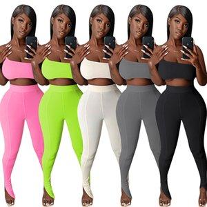 Kadınlar İki Adet Set Seksi Sling Meme Paketleme Üst Fishtail Pantolon Tasarımcı Yaz Stretch Straplez Sıkı Üst Katı Renk Spor Hy6195