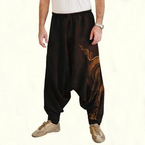 Hip Hop Aladdin Hmong holgada de algodón de lino Harem Hombres Mujeres más el tamaño S-3XL de la pierna ancha pantalones Nuevo pantalones ocasionales de los pantalones cruzados de la venta caliente