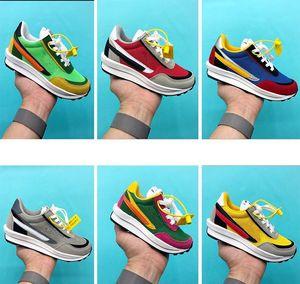 Большие Дети Малыши обувь Sacai х LDV Вафельного пакет Запуск баскетбола обуви Pine Green Тройная Тайная Детский Девушки молодежь Sneaker 22-35