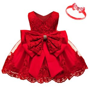 New best selling baby princess dress baby one year old bow baby lace dress factory direct sale size 70-120cm