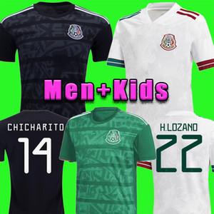 uzaklıkta TOP Meksika futbol forması beyaz Camisetas 20 21 Chicharito LOZANO DOS SANTOS 2020 futbol forması Erkekler + Çocuk kiti üniformalar Maillots