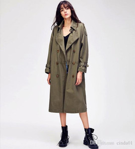 Trench Coat New Loose Large Size Casual Long Double Breasted Cotton Washed Long Windbreaker Female Autumn Coat Women manteau femme XXS-XL