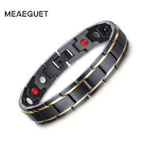 Altri braccialetti Meaeguet 12mm Black Health Bangles Magnetic H Power Braccialetto in acciaio inox Braccialetto per uomo