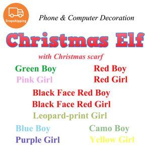 Bambola Elfo trasporto di goccia di Natale con sciarpa Telefono connessione Shelf Decoration Plush Toys Elfi bambole mobile Accessori bambini regali dei bambini