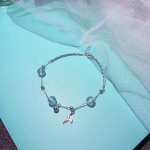 S925 sterling silver natural moonstone fishtail bracelet female Korean minimalist student Mori girlfriends personality fresh INS