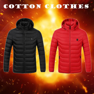 S~4XL USB Charging Smart Cotton Jacket for Men Women Upgrade Winter Electric Heated Long Coat Female Outdoor Windproof Outwear