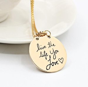 DHL Fashion Jewelry Learn From Yesterday Live For Today Hope For Tomorrow Letter Pendant Necklace Gift For Women party favor nx
