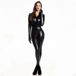 eldiven Açık Kasık Clubwear fetiş Kedi Kadın Sahte Deri catsuit kostümleri Y200401 ile Kadınlar Seksi Wetlook PVC Lateks iç çamaşırı bodysuit