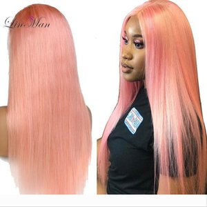 LIN MAN Peruvian Remy Human Hair Pink Color Full Lace Wig Pre-Plucked Hairline Straight Hair with Baby Hair Glueless Wigs