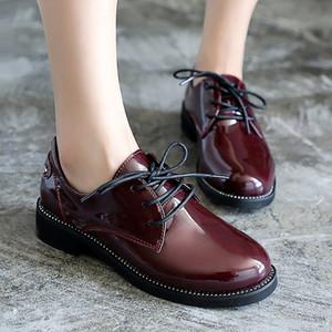 Vente chaude-Fengnong Simple Femmes Bottes À Lacets Mignon Simple Boucle Intelligente Chaussures Fille Smooth Pu En Cuir Printemps Automne Bottes WBT124