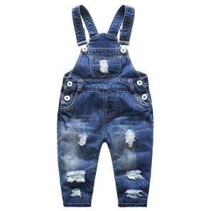 Children clothing Kids Denim overalls Abrasion Washed cotton Casual bib pants Buttons Boys girl pant 2018 Spring Autmn Summer BY0632