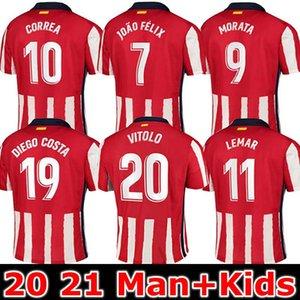 20 21 JOAO FELIX casa Rojo Blanco fútbol jerseys 2020 2021 KOKE SAUL GODIN Atlético de Madrid de fútbol kits de hombres de la camisa + niños conjunto uniforme