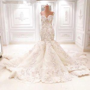 Michael Cinco 2.020 catedral vestidos de boda de la sirena del cordón del tren de lujo floral 3D con cuello en V vestido de novia sin espalda árabe de Dubai cola de pescado