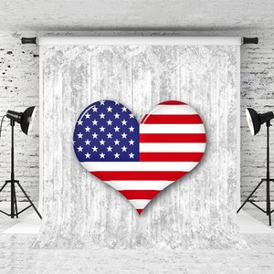 Dream 5x7ft American Flag Backdrop Independence Day Photography Background Heart Flags Retro Wall Decor Photo Backgrounds for July 4th Shoot