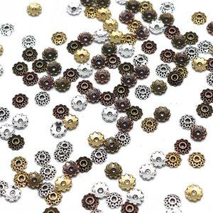 5 mm Fleure Caps Mix Perles Spacer 100 / 200pcs Motif Vintage Argent métal plaqué Perle Embouts bijoux Making d se approvisionner