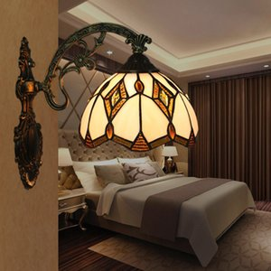 Tiffany americano Stylel simples Sconce Wall Lights Nordic Lamp parede da sala Vintage cabeceira quarto Corredor Varanda Escadas Wandlamp