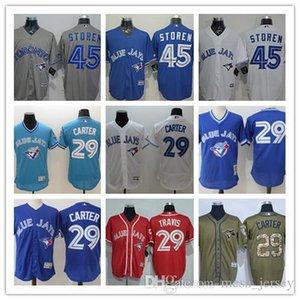 Hombres, mujeres, jóvenes encargo Azulejos Jersey # 17 Ryan Goins 29 jerseys de béisbol Joe Carter 29 Devon Travis 45 Francisco Liriano Inicio Azul Blanco