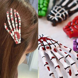20Pcs Women Fashion Halloween Decor Zombie Skeleton Claws Hairpin Skull Hand Hair Clip Punk Horror Barrette 13 Colors Hair Accessories