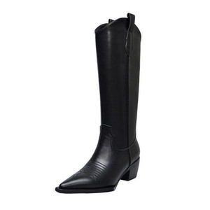 웨스턴 부츠 여성 니 하이 카우보이 부츠 패션 뾰족한 발가락 봉제 신발 여성 하이힐 두꺼운 신발 여성 가을