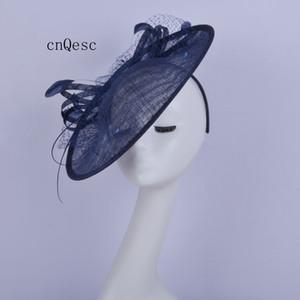 2019 Big Navy blue Saucer fascinator cappello da sposa sinamay piuma fascinator per ballo di fine anno gare kentucky derby