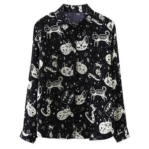 Del gatto di stampa T-shirt Donne Harajuku gotica Kitten a maniche lunghe camicetta allentata Moda Autunno Via Femme Camicia Casual Nero Bianco