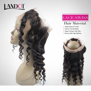 360 Lace Frontal Deep Wave Closure Brazilian Peruvian Malaysian Indian Curly Virgin Human Hair Full Lace Band Frontal Closures 22.5*4*2 inch
