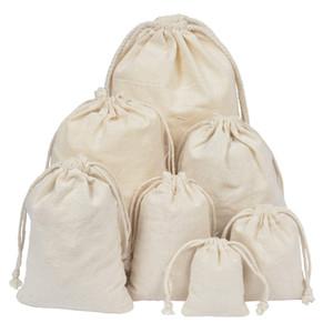 50pcs reutilizável Cotton Muslin sacos do presente Natural de serapilheira Wedding Party Bag Pacote doces jóias Decoração Linho Bolsa com cordão
