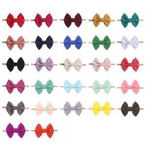 Wrap mariposa niño del bebé Hairwrap arquea las vendas del pelo del Bowknot nudo Colores sólidos Hairbows de los aros de recién nacidos niñas Toca Acceseries E22508