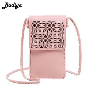 Badiya Mulheres Shoulder Bag Personlity oco Out Mini Magro Crossbody Bag de alta qualidade Feminino Touchable Telefone