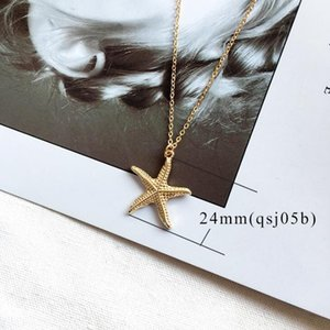 DHL Ocean Series Jewelry Beach Boho gold plated metal seashell Conch shape nx pendant necklace for women men Chain length 45+8cm